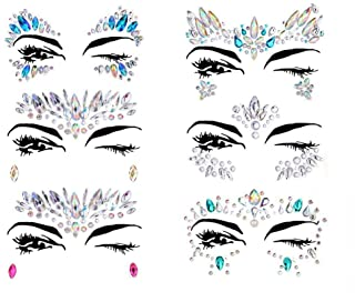 Face Tattoo Gems,Women Mermaid Rave Festival Glitter, Rhinestone Temporary Tattoo Face Jewels Crystals Face Stickers eyebr...