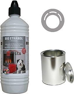 Moritz - Set de iniciación de 1 x 1000 ml de bioetanol + 6 x latas de 500 ml con tapa + hucha para quemador de chimenea, estufa, combustión de seguridad