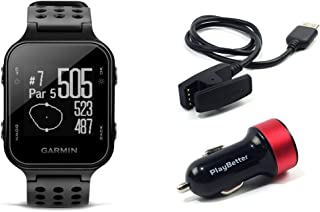 PlayBetter Garmin Approach S20 (Black) Golf GPS Watch USB Car Charge Adapter   Activity Tracker, Smart Notifications & 40,000+ Worldwide Courses