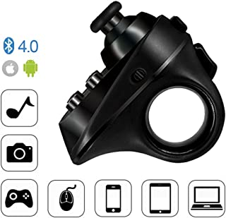 XFUNY VR Remote Controller Rechargable Mini Bluetooth 4.0 Wireless Gamepad for VR Games with LED Indicator & Automatic Determine System for iOS Android (Black)