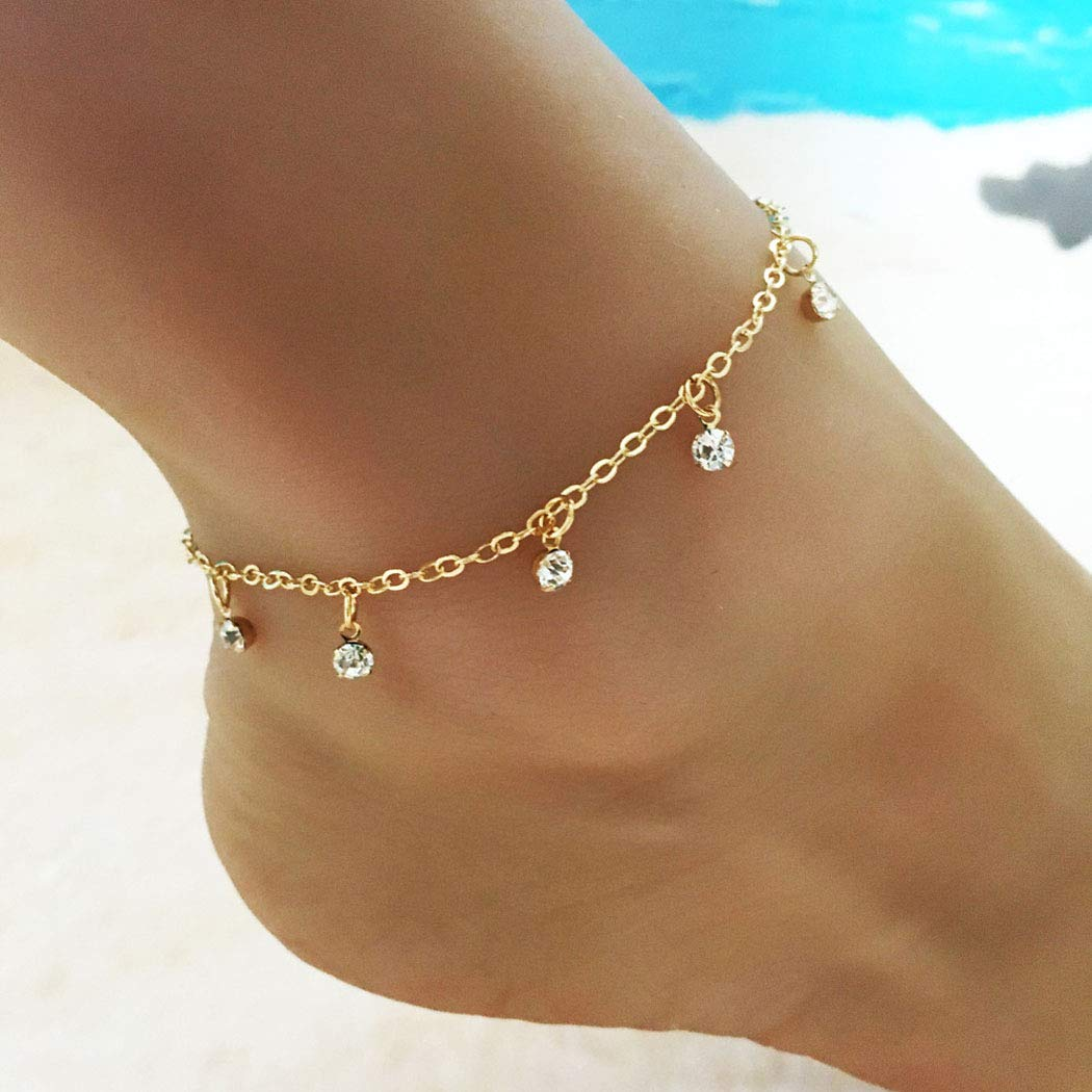 Jovono Crystal Tassels Anklets Boho Anklet Bracelets Beach Foot Jewelry for Women and Girls (Gold)