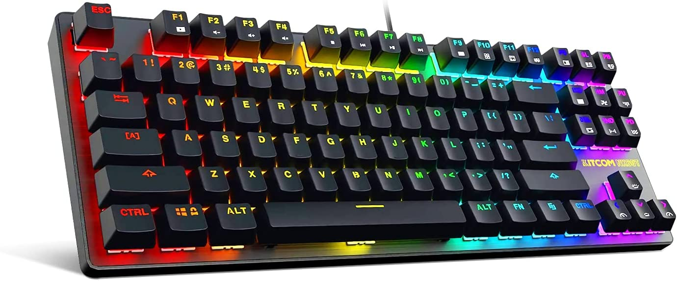 KITCOM NK60T TKL Mechanical Gaming Keyboard with Brown Switches and Customizable RGB Backlit,87 Key Anti Ghosting Compact Wired Keyboard for Gaming PC, Black