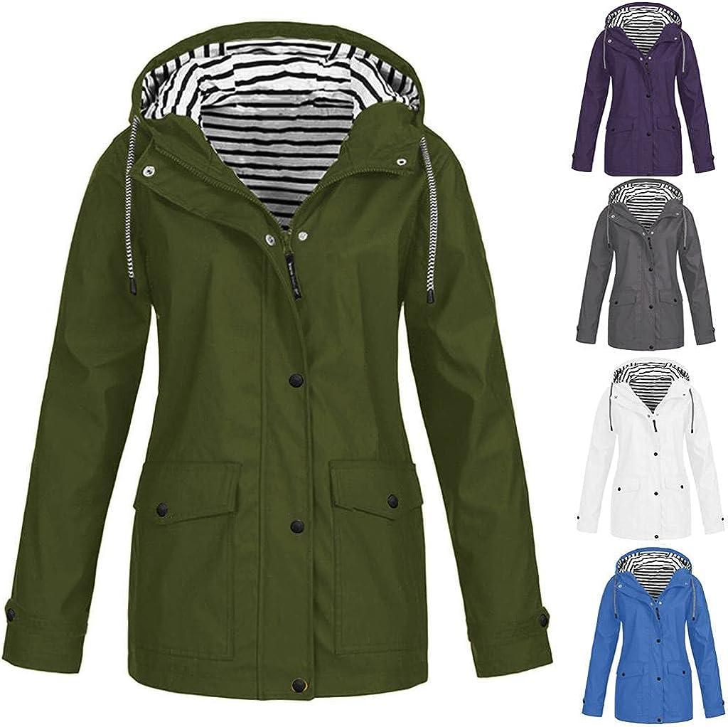 UOCUFY Sweatshirts for Women Hoodie Pullover Windbreaker Raincoat Waterproof Hooded Coats Jackets Casual Plus Size Outdoor