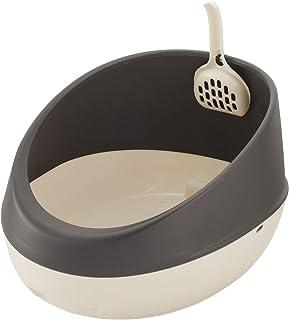 リッチェル 猫用トイレ本体 ラプレ ネコトイレ ハーフカバー ダークグレー 1個 (x 1)