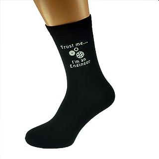 Trust me I'm a Engineer & Cogs Image Design Mens Black Cotton Rich Socks