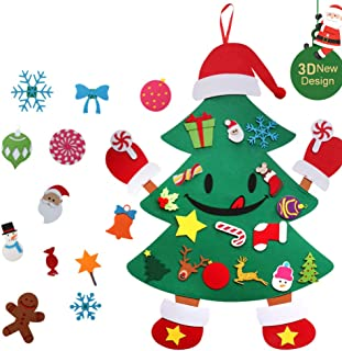 KERIQI Smiley DIY Felt Christmas Tree for Kids, Unique Hands and feet Design with 30pcs Detachable Ornaments Wall Hanging for Xmas Gift Holiday Christmas Decorations