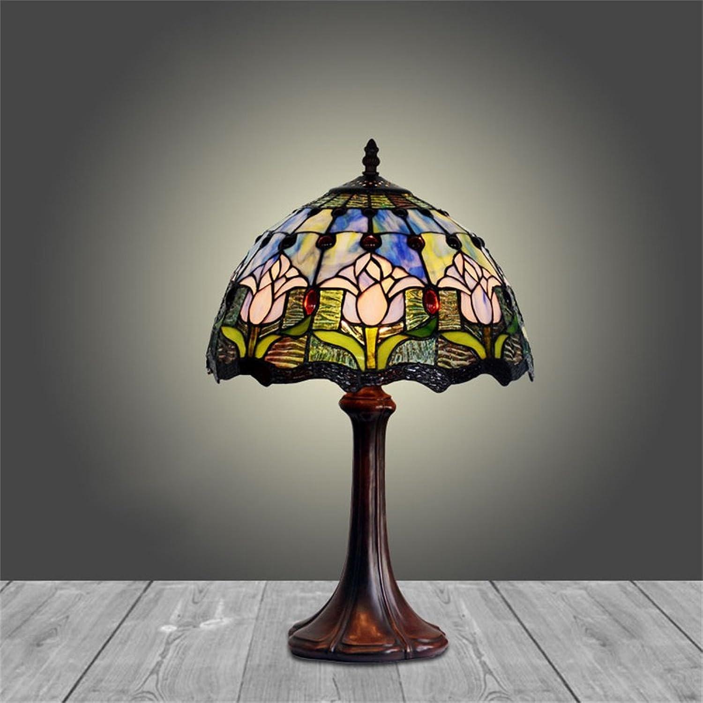 Xiuxiu Europäischen und amerikanischen Stil Retro Glasmalerei Blaume Form Tischlampe Schlafzimmer Nachttischlampe Restaurant Wohnzimmer Dekoration Tischlampe B07J9T352W       Internationale Wahl