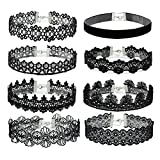 Eigso 8Pcs Gothic Tattoo Lace Choker Necklaces Set for Women Adjustable Black Collar Choker