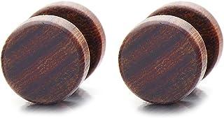 CHICNET Boucles doreilles cr/éoles pour Homme et Femme en Bois de Buaya Marron Clair et Bois de Sono dans Un Noir de 15 mm Tige de 1,7 mm sur 20 mm Rondes de 6 mm de Large.