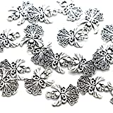 Pomeat 50pcs Angel Charms Pendant, Tibetan Silver Guardian Angel for Jewelry Making, 20x14mm