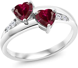 Gem Stone King 925 Sterling Silver Red Created Ruby and Lab Grown Diamond Women Ring (1.28 Ct Heart Shape Available in siz...