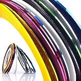 BLOUR 1mm 10 unids/Lote Color Glitter Nail Striping Line Tape Sticker Set Nail Art Decoraciones Consejos de Bricolaje para manicura en Gel Polaco