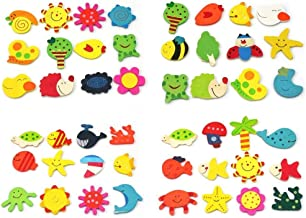 R H Lifestyle Colored Wooden Cartoon Or Nature Theme Fridge Magnets - Set of 40 (Magnet 40)