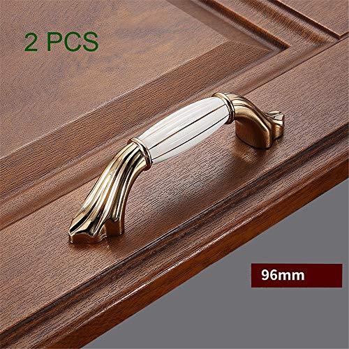 Chyuanhua deurkruk 2 stuks dikke zinklegering Europese schuifdeur lade kast handvat met schroef goud wit keramische kast vintage deurkruk