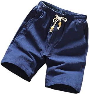 Winwinus Mens Pocket Linen Plus-Size Solid Color Thin Fashion Jogger Gym Shorts