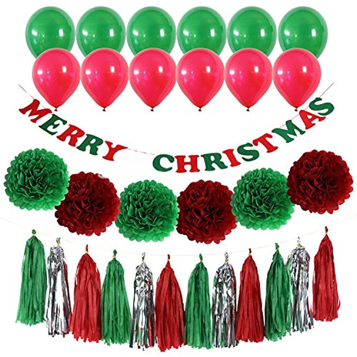 42PCS Merry Christmas Banner Kit - Christmas Party Decorations - 10 Balloons, 6 Pompom Flower Tissue Paper and 15 Paper tassel, Xmas Day Decor Supplies for Christmas Party Home Tree Decorations