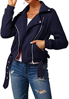 neveraway Womens Outwear Jacket Lapel Zip Up Pocket Casual Small Blazer