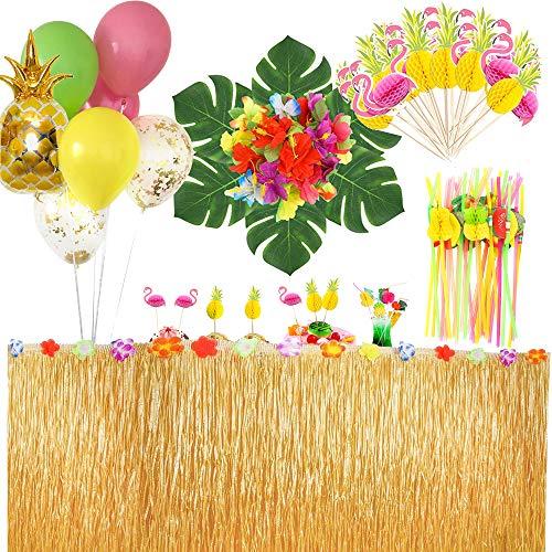 MMTX Hawaii Luau Tischröcke Dekoration, 9,6 Fuß Tropical Beach Tiki Bar Vaiana Party Dekor Hibiscus Gras Rock mit Palmblättern Hawaiian Blumen, Cake Topper für BBQ Garden Summer Tiki Party mehrweg
