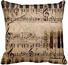 Andreannie Retro Shabby Sheet Music Cotton Linen Personalized Throw Pillow Case Cushion Cover New Home Office Decorative Square 18 X 18 Inches (For Room, Sofa£¬car) ¡­
