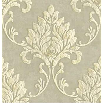 Gw1012 Grace Gardenia Cream Gold Damask Peel Stick Wallpaper Amazon Com