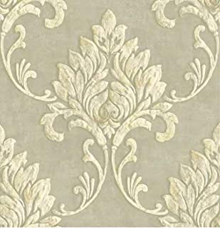 GW1012 Grace & Gardenia Cream & Metallic Gold Damask Peel & Stick Wallpaper