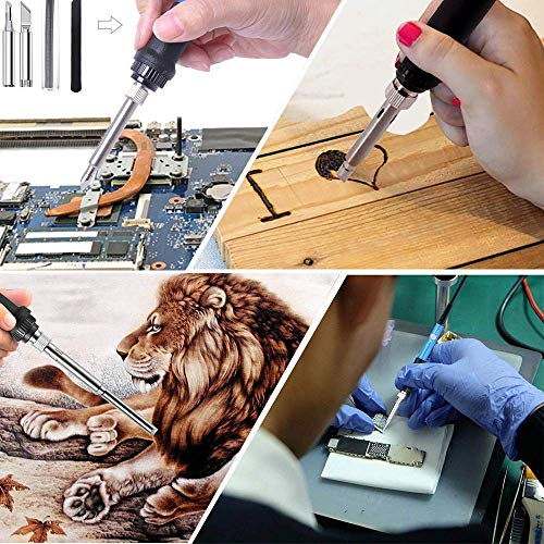 126PC Wood Burning Kit,Catnes Professional Woodburning Tool with Soldering Iron, Creative Tool Set Adjustable Temperature Soldering Pyrography Pen for Embossing Carving Soldering Tips