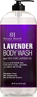 BOTANIC HEARTH Lavender Body Wash for Women & Men and Shower Gel - with Peppermint Oil - Fights Acne, Soothes Eczema and Dry Irritated Skin, Sulfate and Paraben Free - 16 fl oz