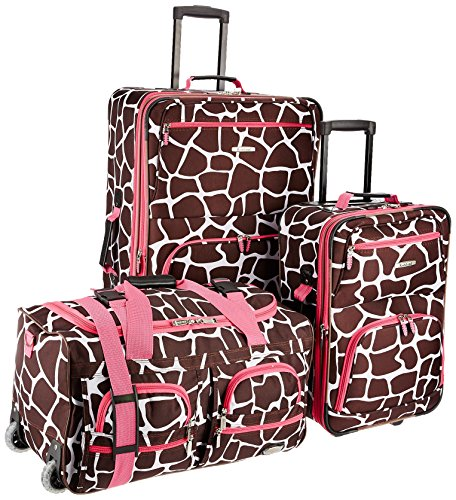 Rockland Vara Softside 3-Piece Upright Luggage Set, Pink Giraffe, (20/22/28)