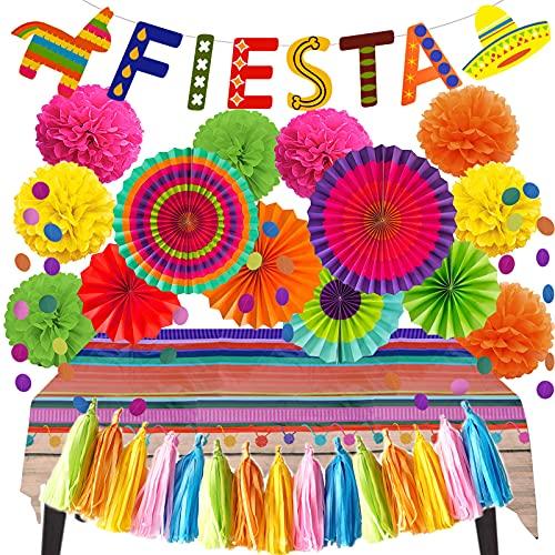 ZERODECO Decoración de fiesta, multicolor fiesta banner de papel pompones pompones papel borla mantel guirnaldas cuerda para fiesta temática mexicana Cinco De Mayo Coco carnavales festivales fiesta