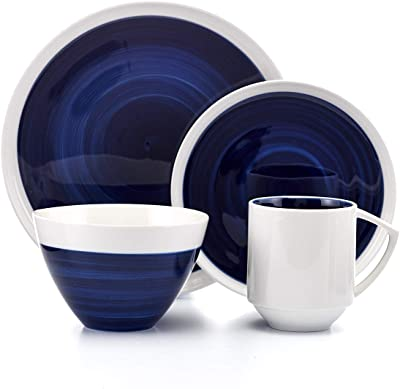 Midnight Glory Blue and White Porcelain Dinnerware Set, Service for 4