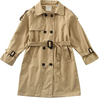 amropi Girl's Trench Coat with Waist Tie Knee Length Windbreaker Jacket for 4-17 Years