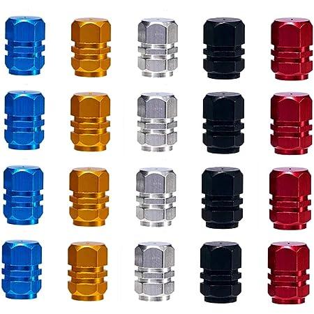 Bouchons de Valve,Bouchons de Soupape 20 Pack Anti-poussière Capuchons de Poussièree Alliage d'aluminium de Pneu pour Moto Voiture Vélo Argent Rouge Bleu Noir