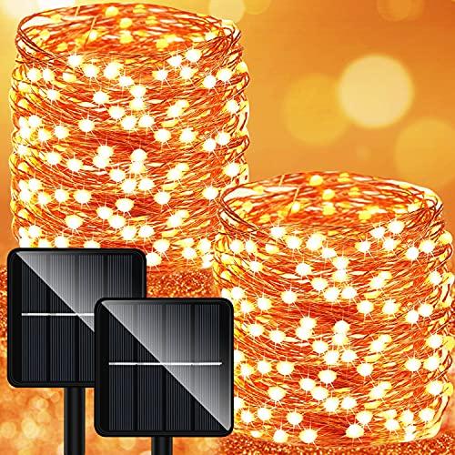 Luci Solari Esterno Catena Luminosa - 2 Pezzi 28M 280LED Lucine Giardino (Grande Pannello Solare) 8 Modalità Impermeabili Adatto per Halloween Festa Natale Patio Cancello Matrimonio
