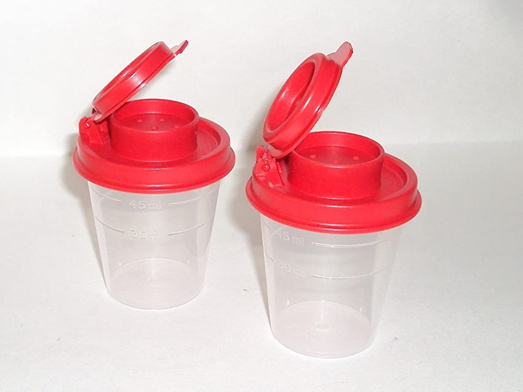 Tupperware Salt And Pepper Shakers Mini Set Clear With Red Seals