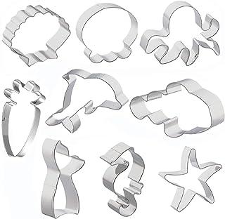 Abimars Sea Creature - Juego de 9 moldes para galletas de sirena, sirena, delfín