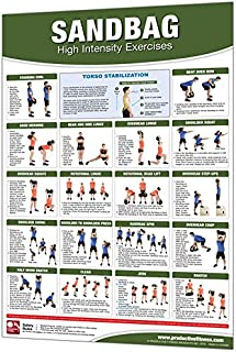 Productive Fitness Laminated Fitness Poster - Sandbag Exercises - 24