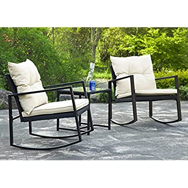 BestMassage Outdoor 3 Pcs Wicker Patio Furniture Sets Rocking Wicker Bistro Wicker Sofa Set With Two Chairs And One Coffee Table For Yard