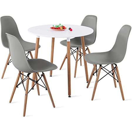 H.J WeDoo Ensemble Table et Lot de 4 Chaises de Salle à Manger, Ronde Table de Salle à Manger en MDF avec 4 Moderne Scandinaves Gris Chaises