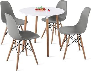 H.J WeDoo Ensemble Table et Lot de 4 Chaises de Salle à Manger, Ronde Table de Salle à Manger en MDF avec 4 Moderne Scandi...