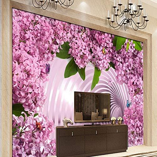 Apoart 3D behang aangepaste 3D muurschildering 3D ruimte uitgebreid roze dame vlinder bloem muurschildering achtergrond muur behang woonkamer aangepaste muurschildering 350cmx245cm