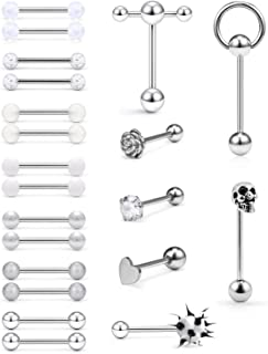 SCERRING 14G Tongue Rings Stainless Steel Rose Skull Heart Tongue Nipple Ring Body Piercing Jewelry Retainer 21PCS