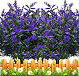 6 Piezas Flores Lavanda Artificiales,Flores de plástico Artificiales,no se decolora,para Interior Exteriores decoración Arbusto de jardín Porche Ventana decoración Planta (Morado)
