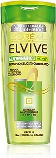 L'Oréal Paris Elvive Multivitaminico Fresh Shampoo Delicato per Capelli da Normali a Grassi, 300 ml - [confezione da 6]