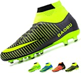 LANSEYAOJI Football Boots High Top Soccer Shoes Mens Boys Professional Spikes Football Shoes Training Shoes Teenagers Outdoor Football Shoes Sneakers Unisex Kids Sports Boots Non-Slip,Black,UK10.5
