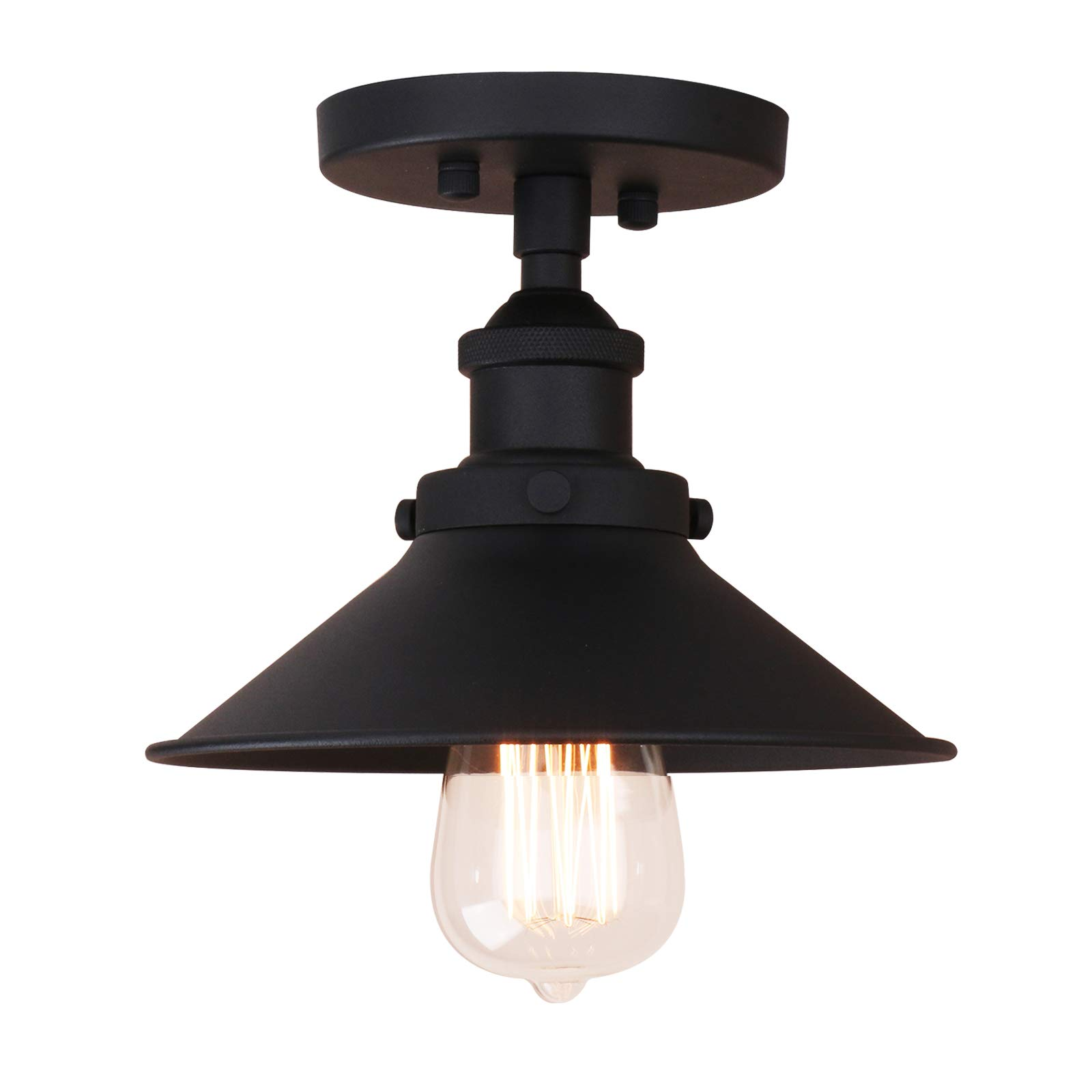 Pathson - Lámpara de techo vintage con pantalla de metal semiempotrada para pasillo, desván, cocina, bar, cerca del techo: Amazon.es: Iluminación
