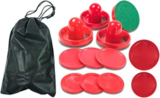 Lemon home Standard Air Hockey Paddles and 2 Size Pucks, 2.5 inch for Kids, 2.95 inche for Adult, Great Goal Handles Pushers Replacement Accessories for Game Tables (4 Striker, 8 Puck Pack)