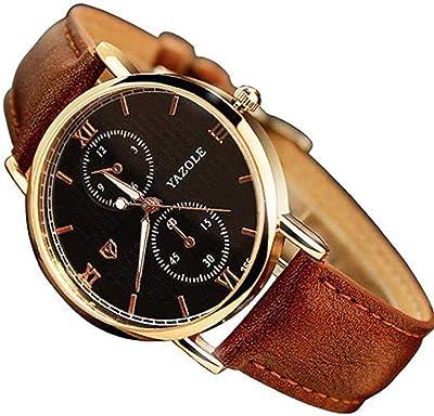 Noopvan Mens Noctilucent Watches Luxury Fashion Leather Glass Quartz Analog Wristwatch (Brown