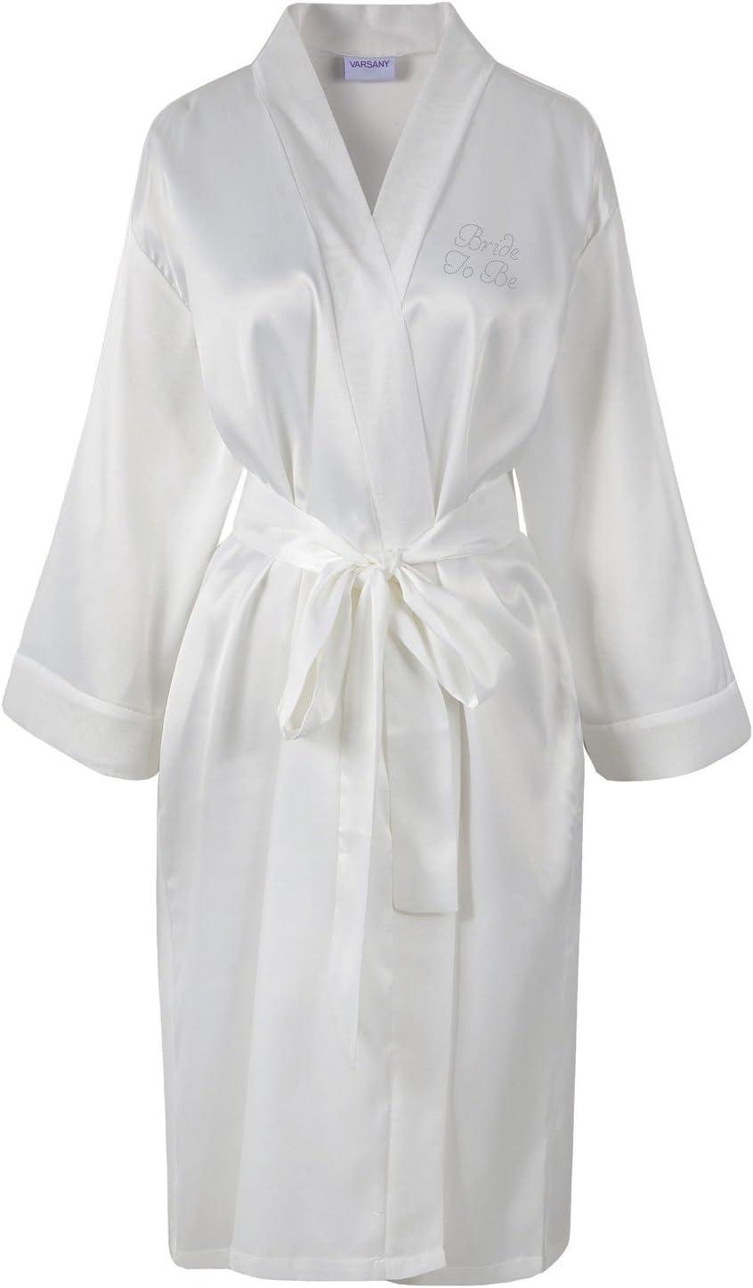 Von varsany Bride to be Satin Strass Bademantel personalisierbar mit Bademantel Kimono elfenbeinfarben Elfenbeinfarben
