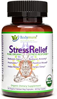 Natural Stress Relief | Anxiety Relief | Passion Flower | Ashwagandha | Valerian Root | Chamomile Lemon Balm Chlorella Effective Mood Support | Synergistic Blend by Bodymune | Non GMO Vegan | 60 Caps