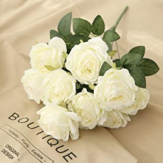 Jasion Artificial Roses Flowers 10 Heads Arrangement Silk Bouquet Glorious Moral for Home Office Parties and Wedding Decoration (White)
